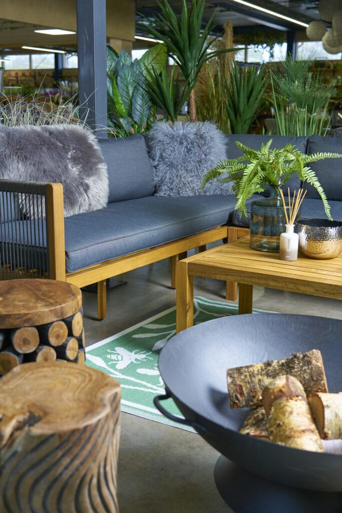 garden furniture and firepit